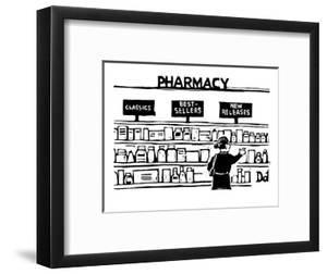 Woman looking at pharmacy shelves labelled 'Classics,' 'Best Sellers,' and? - New Yorker Cartoon by Drew Dernavich