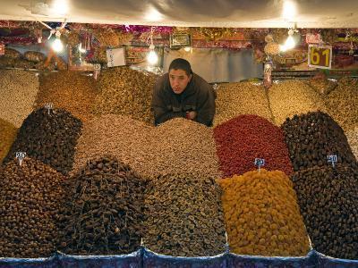 Dried Fruit Seller, Place Jemaa (Djemaa) El Fna, Marrakech (Marrakesh), Morocco, North Africa-Nico Tondini-Photographic Print