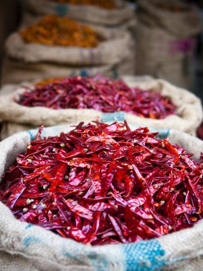 Dried Red Chillies at Spice Market-Huw Jones-Photographic Print