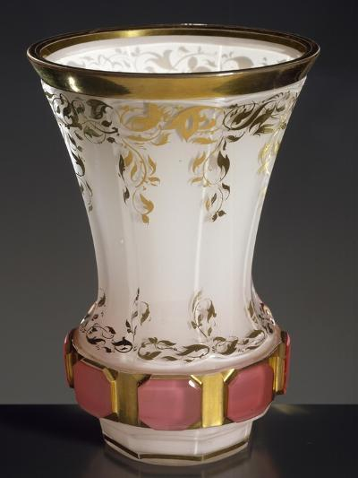 Drinking Glass in Transparent Glass Coloured White on Inside, 1830, Bohemia--Giclee Print