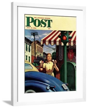 """""""Dripping Cones,"""" Saturday Evening Post Cover, July 29, 1944-Stevan Dohanos-Framed Giclee Print"""