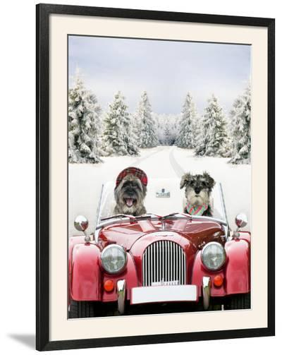 Driving Car Through a Snow Scene--Framed Photographic Print