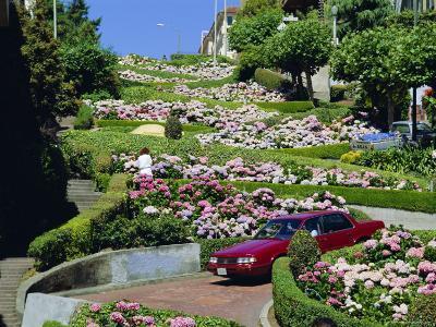 Driving Down Lombard Street, Russian Hill, California-Amanda Hall-Photographic Print
