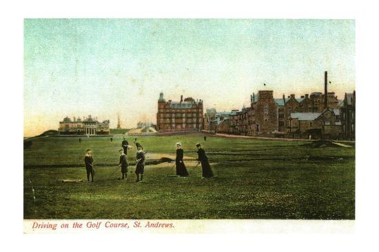 'Driving on the Golf Course, St. Andrews'-Unknown-Photographic Print