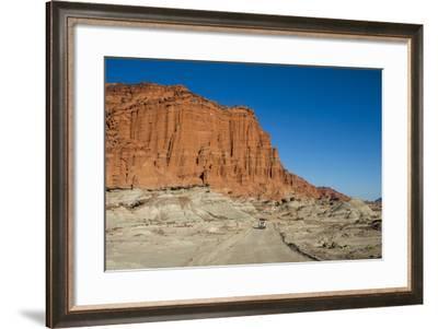 Driving Past Red Los Coloradas Cliff, Argentina-Matthew Williams-Ellis-Framed Photographic Print