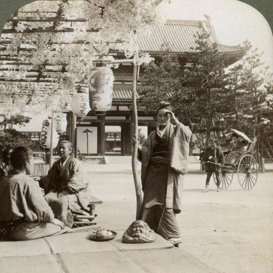 Drooping Clusters of Wisteria over a Tea House Porch, Kyoto, Japan, 1904-Underwood & Underwood-Photographic Print