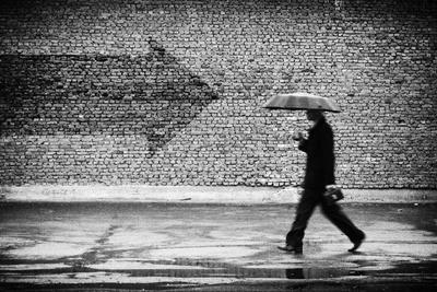 Wrong Way. A Man with Umbrella. Conceptual Image, Film Grain Added