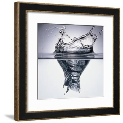 Droplet Penetrating Water's Surface--Framed Photographic Print