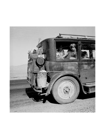 Drought Refugees Migrate by Car-Dorothea Lange-Art Print