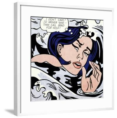Drowning Girl-Roy Lichtenstein-Framed Art Print