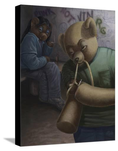 Drug Addict Teddy I-Preston Craig-Stretched Canvas Print