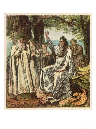 Druid Priests of Ancient Britain in Contemplative Mood in a Forest-Joseph Kronheim-Giclee Print