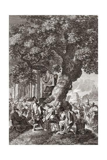 Druids Being Converted To Christianity-Middle Temple Library-Giclee Print