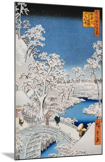 "Drum Bridge at Meguro, from the Series ""100 Views of Edo""-Ando Hiroshige-Mounted Print"