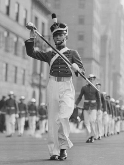 Drum Major Leading Parade in Old-Fashioned Uniforms-George Marks-Photographic Print