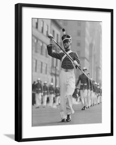 Drum Major Leading Parade in Old-Fashioned Uniforms-George Marks-Framed Photographic Print