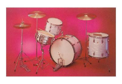 Drum Set with Pink Background--Art Print