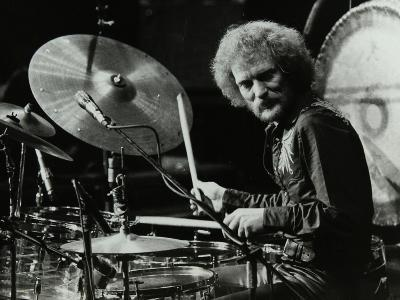 Drummer Ginger Baker Performing at the Forum Theatre, Hatfield, Hertfordshire, 1980-Denis Williams-Photographic Print