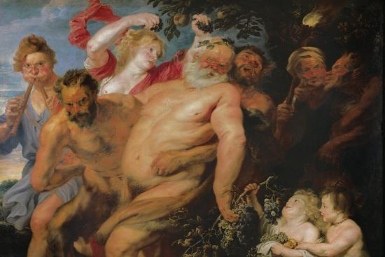 Drunken Silenus Supported by Satyrs, C.1620-Peter Paul Rubens-Giclee Print