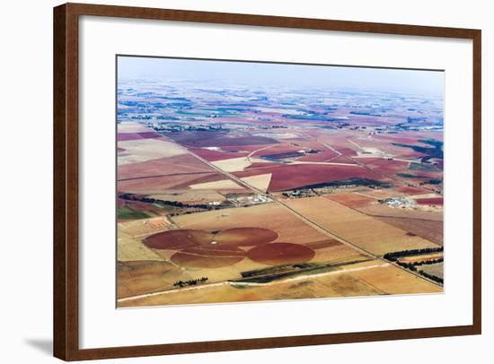 Dry and Arid Farmland Surrounding Agricultural Crop Circles-Jason Edwards-Framed Photographic Print