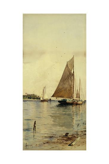 Drying the Sails, Oyster Boats, Patchogue, Long Island-Alfred Thompson Bricher-Giclee Print