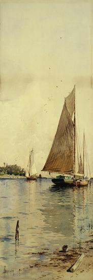Drying the Sails, Oyster Boats, Patchogue, Long Island-Alfred Thompson Bricher-Premium Giclee Print