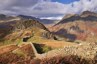 Drystone Wall on Lingmoor Fell Looks Towards Side Pike and Langdale Valley, Lake District, Cumbria-Adam Burton-Photographic Print