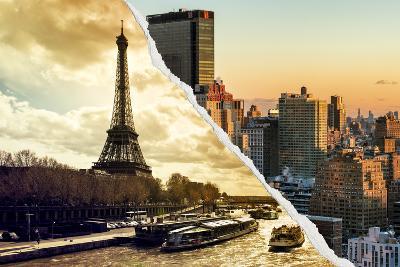 Dual Torn Posters Series - Paris - New York-Philippe Hugonnard-Wall Mural