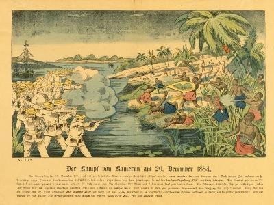Duala Uprising in German Cameroon, with the Sms Olga in the Background, 20 December 1884, 1884-German School-Giclee Print