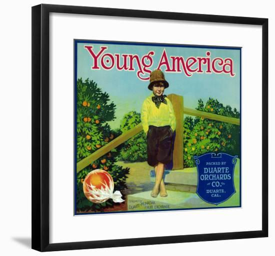 Duarte, California, Young America Brand Citrus Label-Lantern Press-Framed Art Print