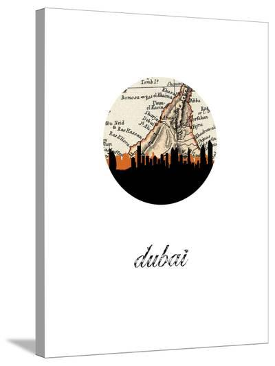 Dubai Map Skyline-Paperfinch 0-Stretched Canvas Print