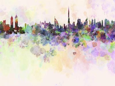 Dubai Skyline in Watercolor Background-paulrommer-Art Print