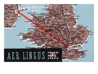 Dublin, Ireland - Aer Lingus Irish Airlines, Map View of Dublin-London Route-Lantern Press-Art Print