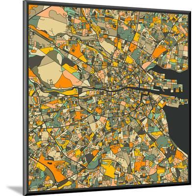 Dublin Map-Jazzberry Blue-Mounted Print