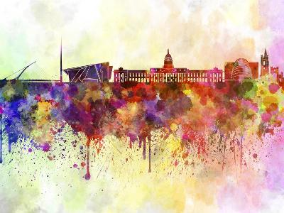 Dublin Skyline in Watercolor Background-paulrommer-Art Print