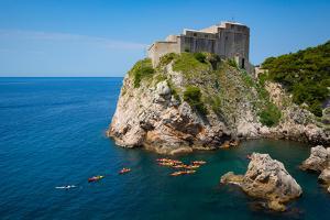 Dubrovnik, Dubrovnik-Neretva County, Croatia. Fort Lovrijenac or St. Lawrence Fortress. Canoeist...