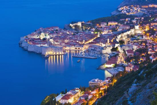 Dubrovnik Old Town at Night, Taken from Zarkovica Hill, Dalmatian Coast, Adriatic, Croatia, Europe-Matthew Williams-Ellis-Photographic Print