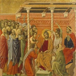 Crowning with Thorns, Detail of Tile from Episodes from Christ's Passion and Resurrection by Duccio Di buoninsegna