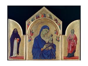 Madonna and Child with St Dominic and St Aurea', c1315. Artist: Duccio di Buoninsegna by Duccio di Buoninsegna
