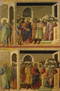 Mocking of Christ and Christ before Pilate by Duccio Di buoninsegna