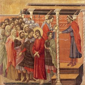 Pilate Washing His Hands, Detail from Episodes from Christ's Passion and Resurrection by Duccio Di buoninsegna