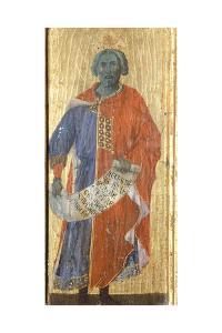 Solomon, Detail from the Predella of the Maesta' of Duccio Altarpiece in the Cathedral of Siena by Duccio Di buoninsegna