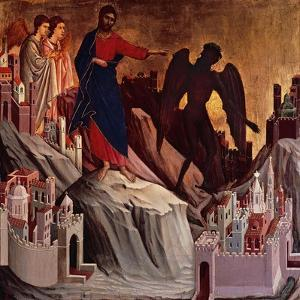 Temptation on Mount, Detail from Episodes from Christ's Passion and Resurrection by Duccio Di buoninsegna
