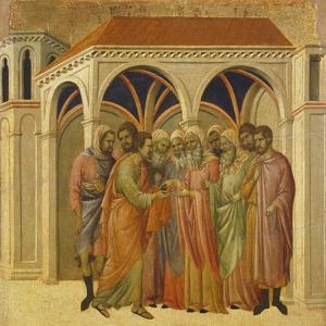 The Betrayal by Judas, Detail of Tile from Episodes from Christ's Passion and Resurrection by Duccio Di buoninsegna