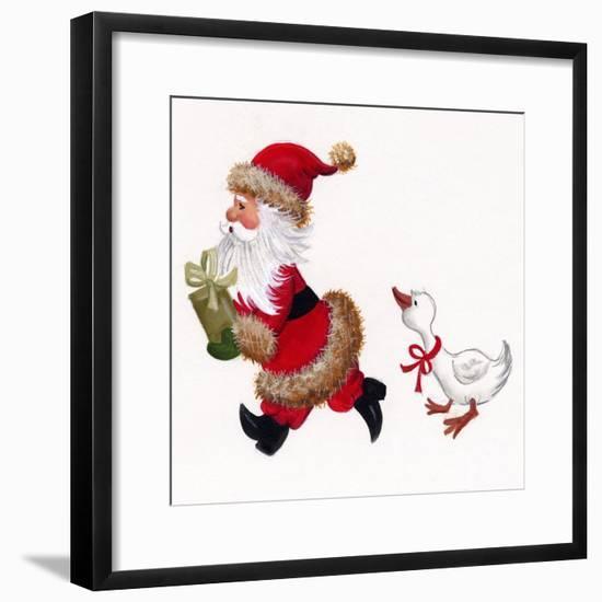 Duck Chasing Santa-Beverly Johnston-Framed Giclee Print