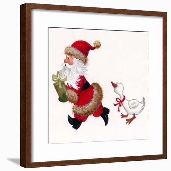 Duck Chasing Santa-Beverly Johnston-Framed Giclee Print