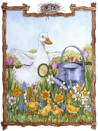 Duck, Chicks, Watering Can, Nestspring, Flowers-Wendy Edelson-Giclee Print