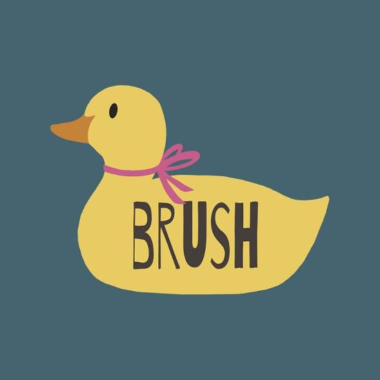 Duck Family Girl Brush-Color Me Happy-Art Print