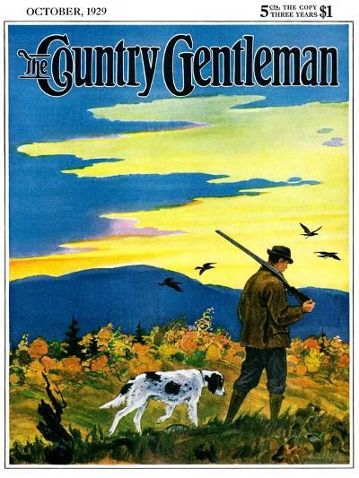 """""""Duck Hunter and Dog,"""" Country Gentleman Cover, October 1, 1929-Paul Bransom-Giclee Print"""