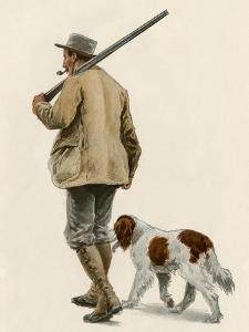 Duck Hunter with His Gun Dog, Circa 1900